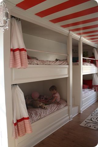 Built in bunks + striped ceiling