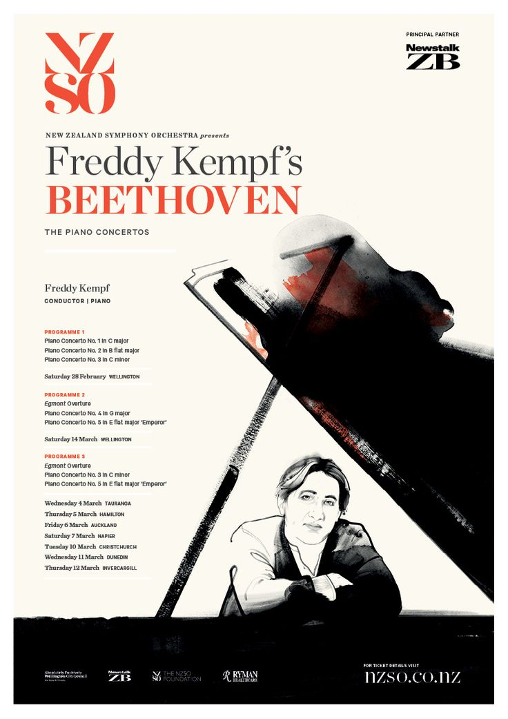 Freddy Kempf's Beethoven: The Piano Concertos. 28 Feb - 14 March 2015. It's a Beethoven extravaganza with fearless British piano star Freddy Kempf returning for an extensive national tour. Kempf plays the mighty composer's concerto masterpieces and also conducts the NZSO. http://www.nzso.co.nz/concerts/concert/freddy-kempfs-beethoven/