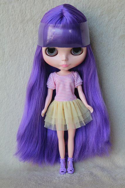 Blygirl Блит кукла Фиолетовый челка прямые волосы обнаженная кукла № 3502 обычный тела 7 суставов DIY куклы для собственного макияжкупить в магазине Blygirl StoreнаAliExpress