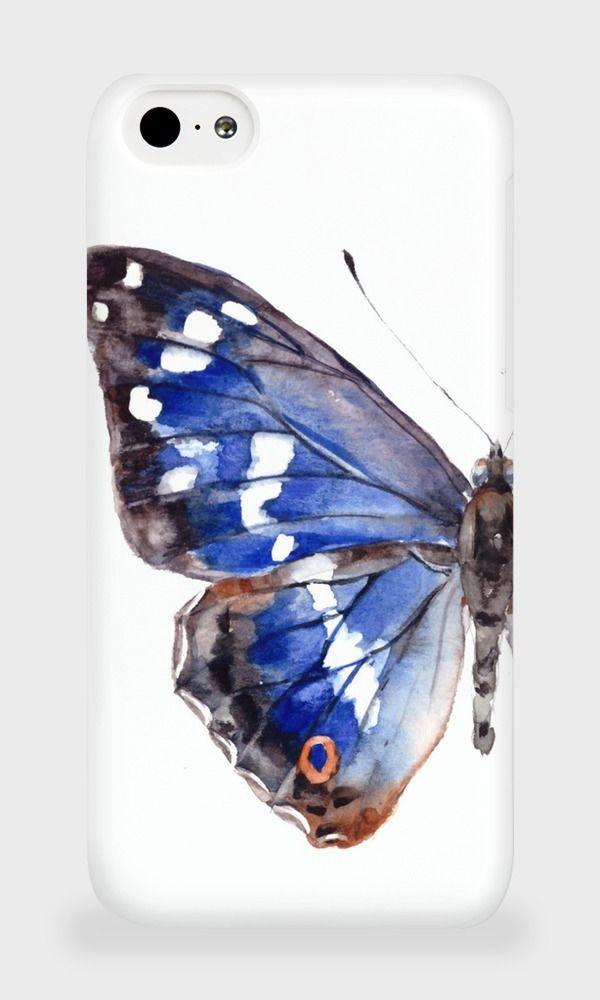 Чехол (кейс) для iPhone 5C Голубая бабочка