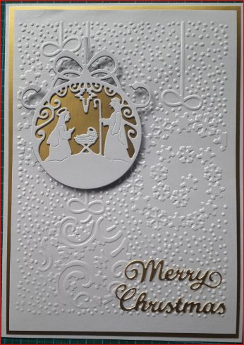 054_A5_Globe Nativity with Embossed Background and Sentiment. Handmade by Diane Prinsloo (Lubbe),