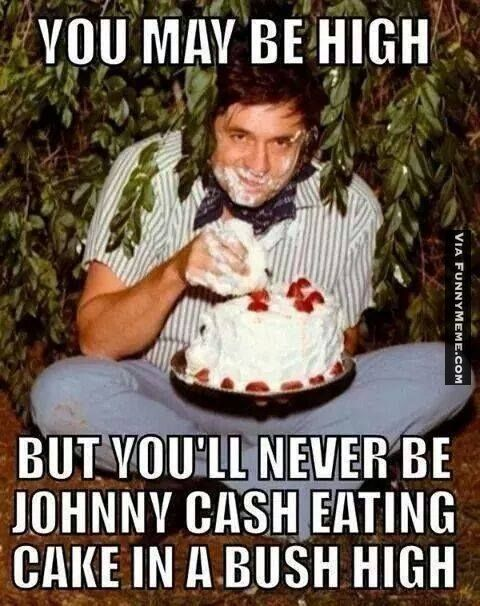Funny memes Johnny Cash eating cake in a bush high...