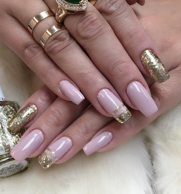 Nude colors are inconspicuous, feminine and seductive. If you add a little of gold color you will get a modern and effective combination.