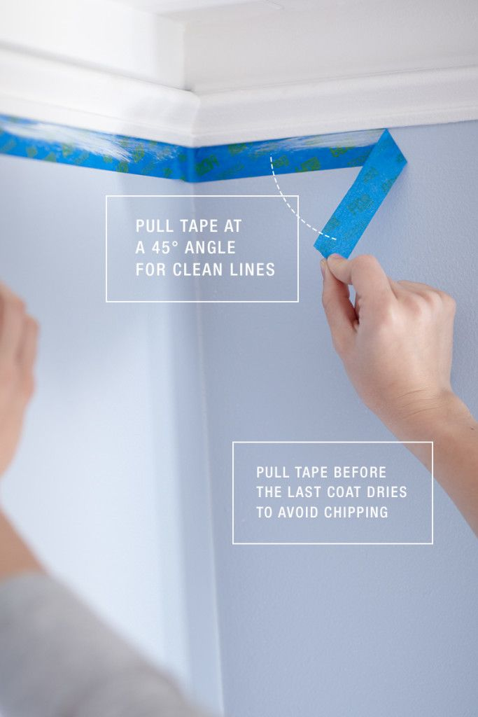 How to Paint Like a Pro: Pull painter's tape off your surface at a 45-degree angle for the cleanest lines.