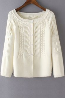 Cable-Knit Scoop Neck Long Sleeve Cardigan