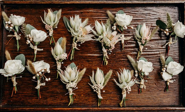 boutonnieres of blushing bride protea, rice flower, white spray roses, bunny tail grass and eucalyptus leaves on a vintage wood tray for delivery to the groom and groomsmen.