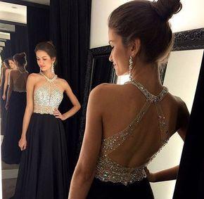 A linha de Vestido de Baile Preto 2015 Longo Halter Frisada Magro Backless vestidos de festa Vestido de Noite Formal Do Partido Pageant Vestidos