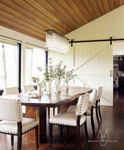 Modern Rustic Chic Dining Room With Sliding Barn Door Love The Table Chadalier Designed By Madeline Stuart