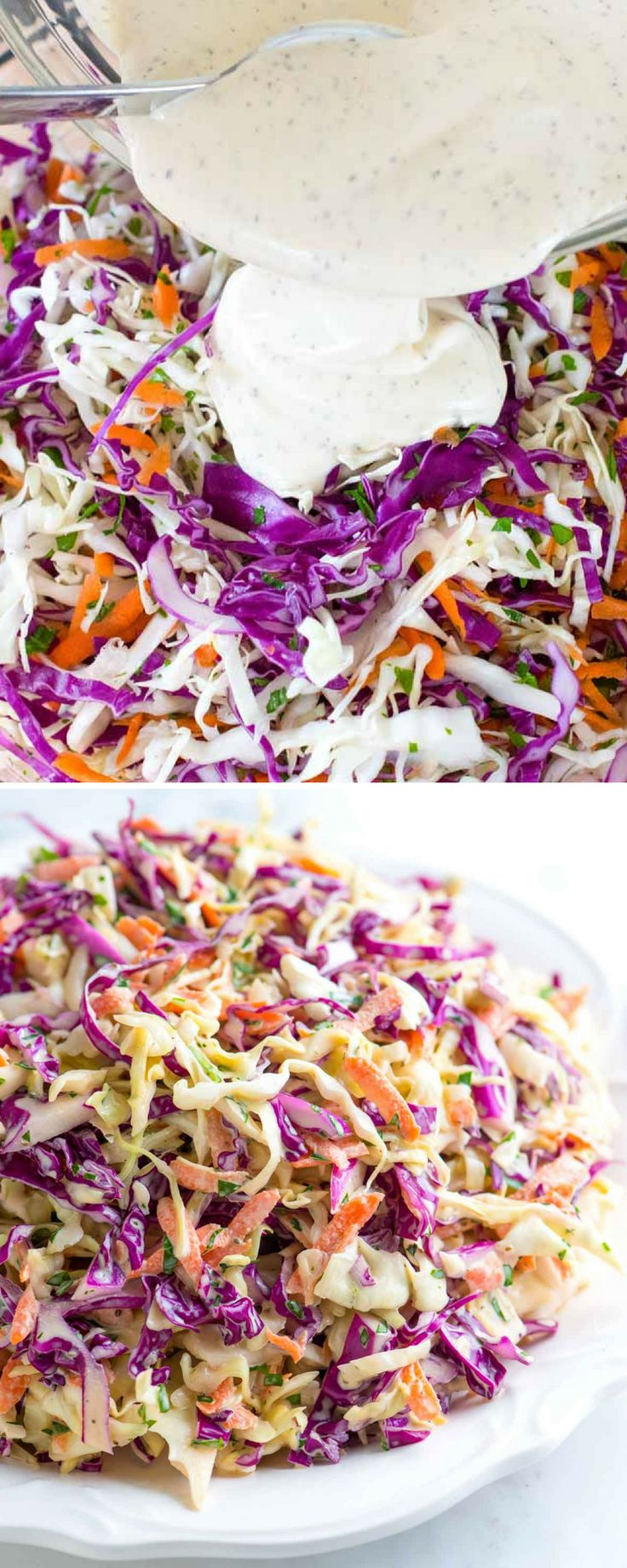 Seriously Good Homemade Coleslaw Recipe - I love this easy coleslaw recipe! The dressing is made without any added sugar and is practically addictive. This is great for BBQs, topping pulled pork sandwiches and more! #coleslaw