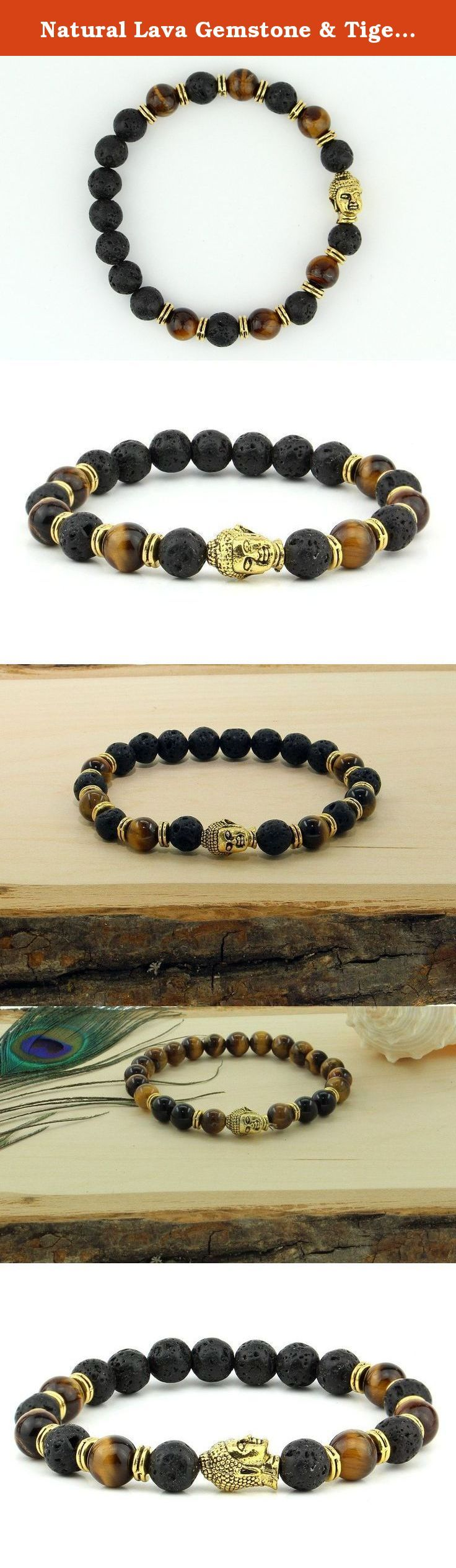 Natural Lava Gemstone & Tiger's Eye Bead Golden Buddha Stretchable Yoga Bracelet Fits All Men Women. This is a beautiful stretchable bracelet which features 13 8mm real earth mined Volcanic Lava Stones Beads, 6 Tiger'e Eye and Golden Buddha face all woven into durable elastic band, which fits all men & women. Made from 8mm genuine volcano black lava beads on stretchable elastic band. If you are looking for Men's bracelet, then this one will be a perfect item for you. *.