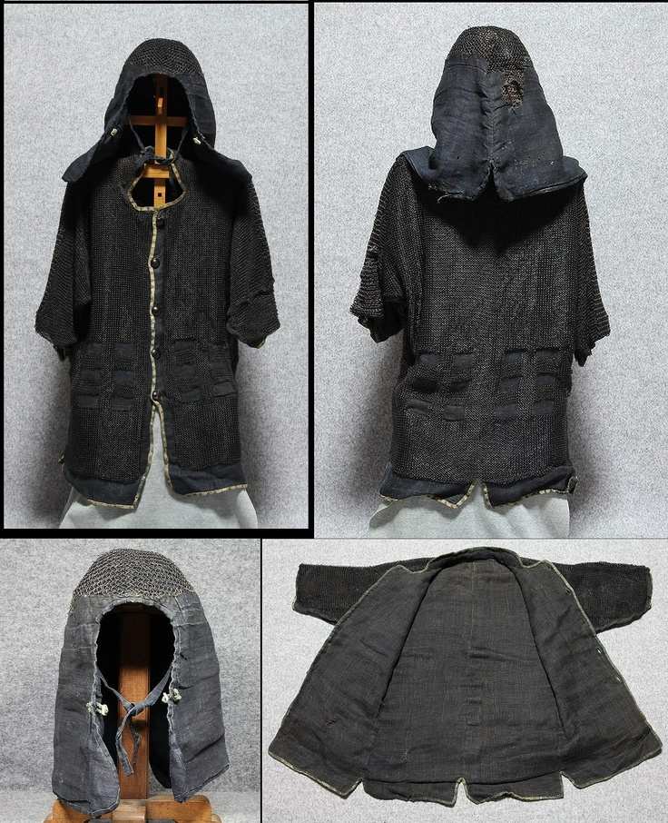 Antique Edo period samurai kusari katabira (chain armor jacket) and kusari zukin (chain armor hood).