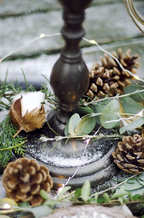 Winter and Christmas styled photo shoot. Rustic table setting and a story about a princess from children's book. Organic and natural, bouquets in boho style and animal details on cutlery. Pine tree branches.