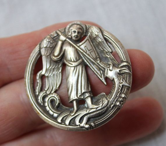 Henrik Moller Silver Saint George and the Dragon 1800's Nordic Arts & Crafts Movement Brooch Pendent RARE VINTAGE by Plantdreaming