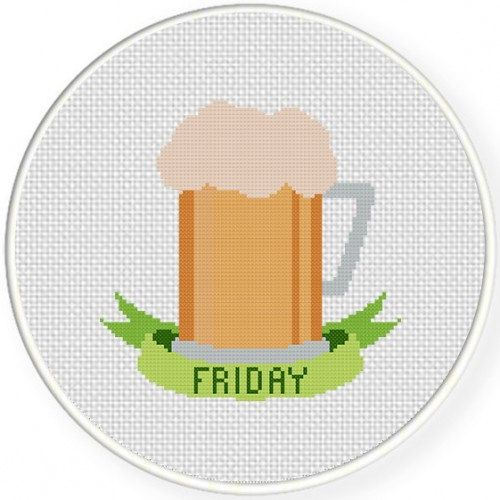 Friday Funday, Handmade Unframed Cross Stitch- Funny Wall Art, Cute Wall Art, Home Decor, Beer Mug, Beer Gifts, Gag Gifts, Beer Glass