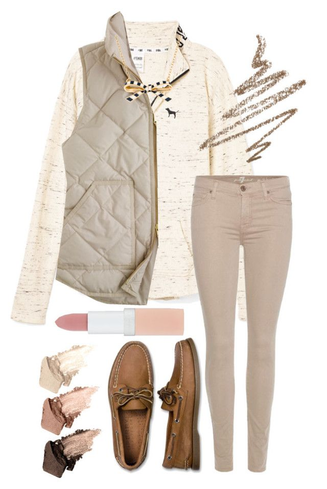 """""""Cute Fall Browns"""" by dailyprepp ❤ liked on Polyvore featuring J.Crew, 7 For All Mankind, Sperry, Kate Spade, Urban Decay, Rimmel and Anastasia Beverly Hills"""