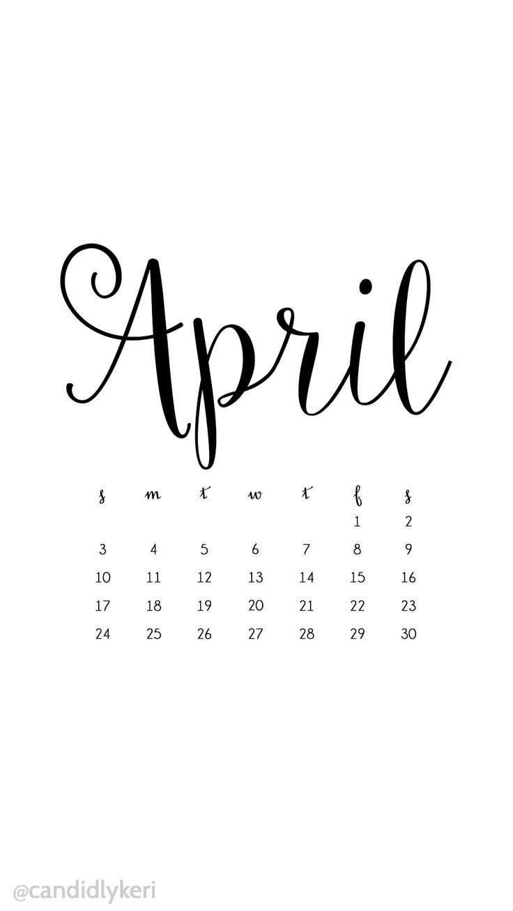 Typography Calendar Download : April cursive handwriting script writing for a