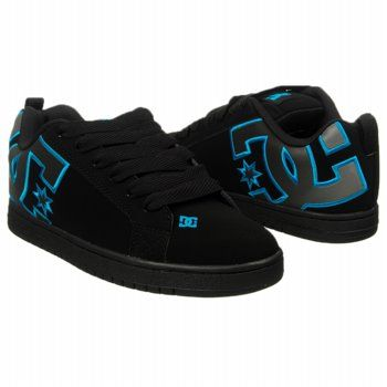 Athletics DC Shoes Mens Court Graffik SE Stencil Black/Turquoise/Silv FamousFootwear.com