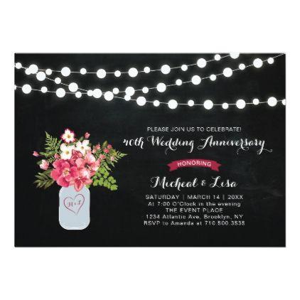 Chalkboard 40th Wedding Anniversary Invitation - anniversary gifts ideas diy celebration cyo unique