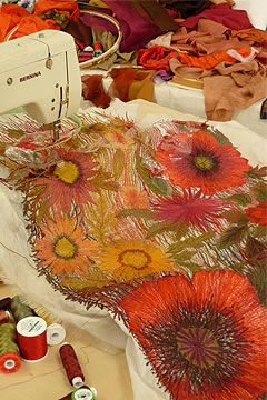 """Commissions - inspirations of Sue Rangeley who writes  """"creating the stitched lace surface. The machine embroidery is worked on a hot water-soluble voile material background. In places a clear film of water-soluble is used to enclose the layers of parachute threads, before machine stitching."""