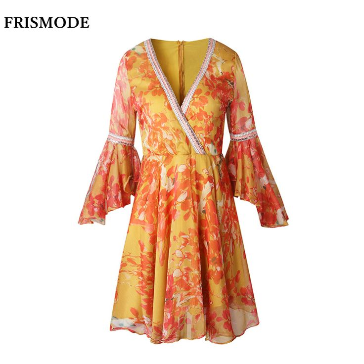 ==> [Free Shipping] Buy Best FRISMODE Sexy Deep V-neck Floral Chiffon Dress 2017 New Bohemian Holiday Ruffle Sleeve Swing Mini Dress Women Summer Beach Dress Online with LOWEST Price | 32808229610
