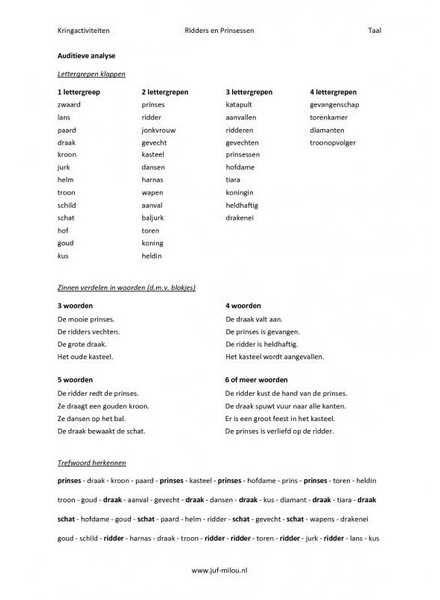 Kringactiviteit rekenen en taal in het thema ridders en prinsessen kun je vinden op de website van Juf Milou.