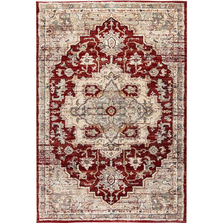 "Dynamic Textiles Lea Rust (Red) Area Rug (6'7 x 9'6), Size 6'7"" x 9'6"" (100% microfiber, Oriental)"