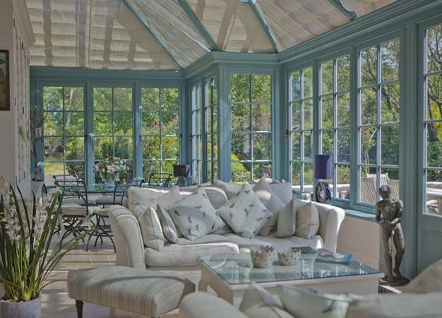 This lovely garden room has been furnished with pieces from Interiors By Vale and the interiors colour is