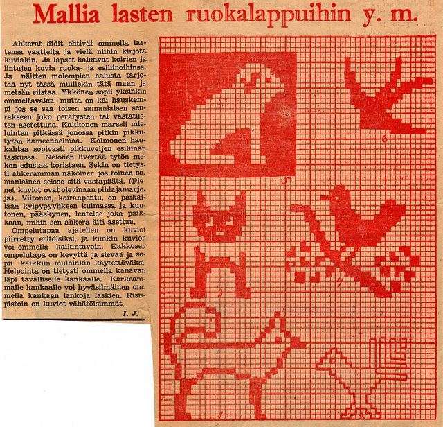 Old newspaper clip: Dogs and birds embroidery patterns by Vakuoli, via Flickr