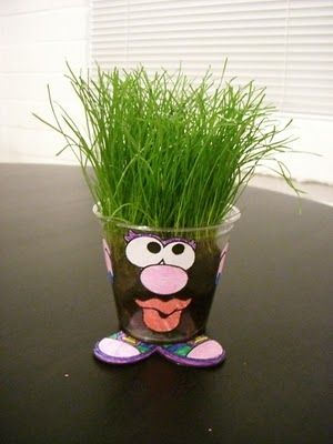 how cute is a make your own grass hair guy or gal?! Fun twist to the plain ol' grow grass in a cup experiment :)