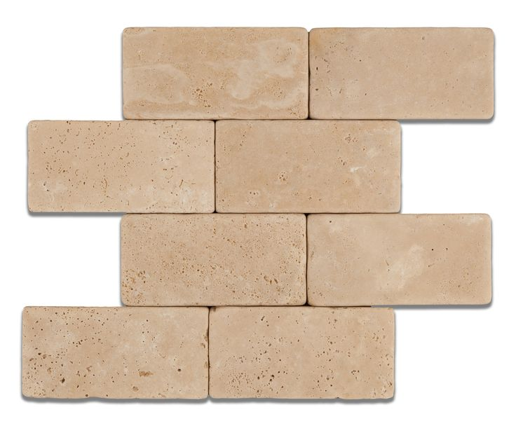3 X 6 Ivory Travertine Tumbled Subway Brick Field Tile