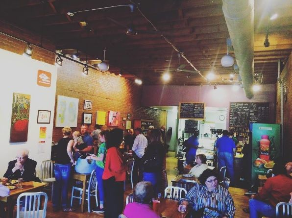 """<b><a href=""""https://www.facebook.com/sacredgroundscafeedwardsville/"""">Sacred Grounds Cafe</a></b><br> 233 N. Main St.<br>  Edwardsville, IL 62025<br> (618) 692-4150<br> <br> At first glance, you may want to leave Sacred Grounds to the hipsters. Our advice: don't. This coffee shop has tasty vegetarian food, delicious bakery items and great coffee at a fraction of Starbucks prices -- which is proven by the crowd gathered here for brunch on the weekends. The walls display work by local artists…"""