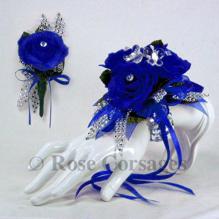 Royal Blue Silk Rose on Royal Blue Glamour Prom Corsage & Boutonniere Combo #Rosecorsages #Formal