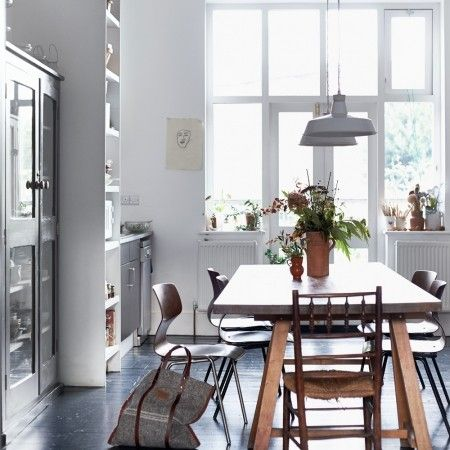 Large Wood Tables Set The Scene In A Bright White Room Redonlineco Dining DecoratingRoom Decorating IdeasThe