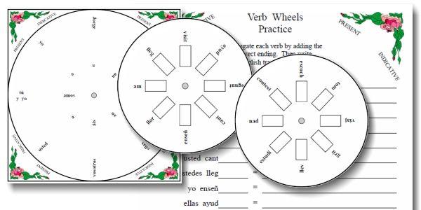 Printable Spanish FREEBIE! Present tense Verb Wheels with