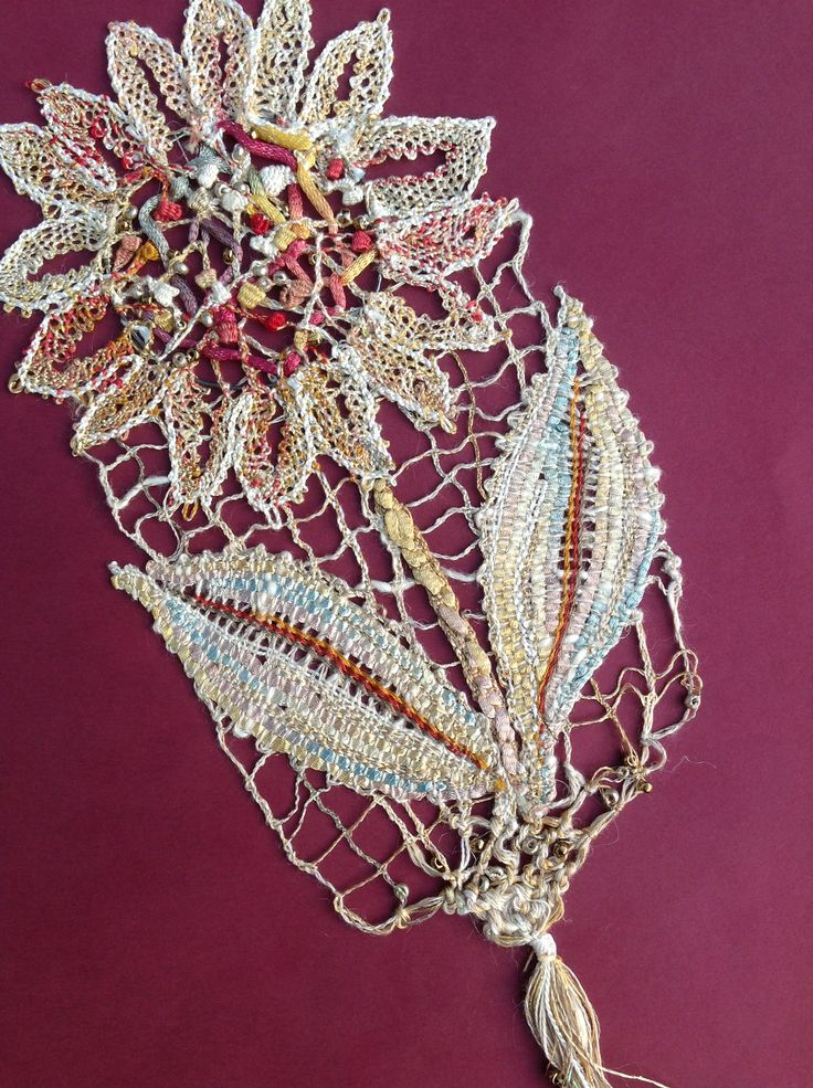 Designed and worked for a competition at a Lace Guild convention. Worked in mix of embroidery threads and knitting yarns.