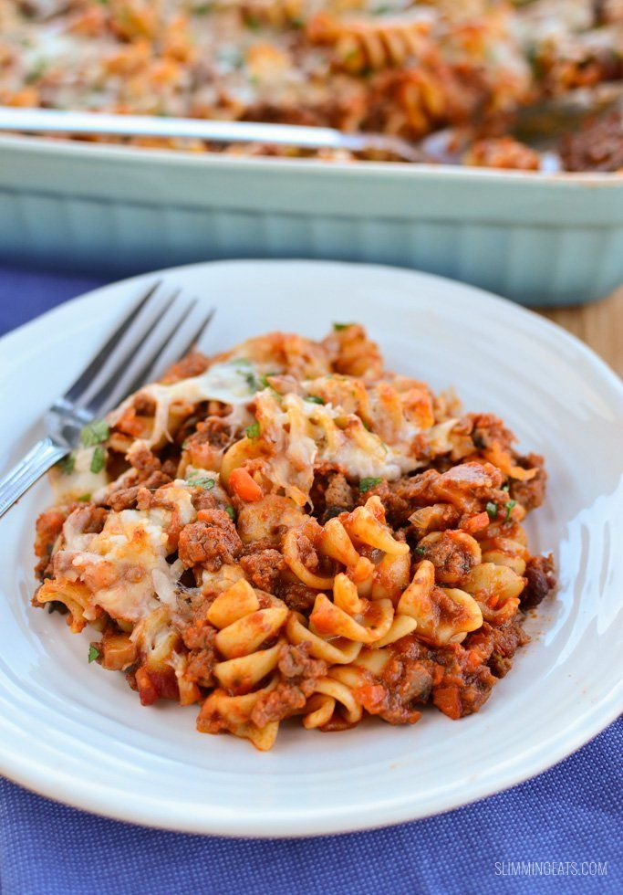 Slimming Eats Bolognese Pasta Bake - gluten free, vegetarian, Slimming World and Weight Watchers friendly