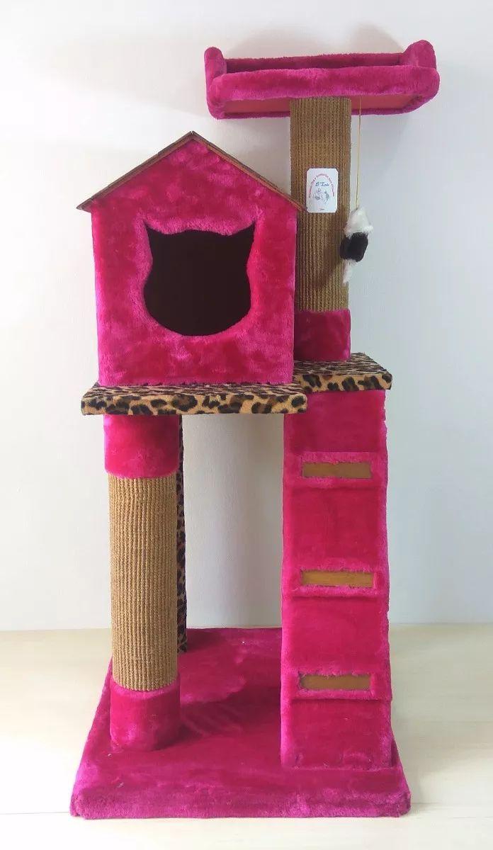 gimnasio rascador arañador con casita para gatos. exclusivo