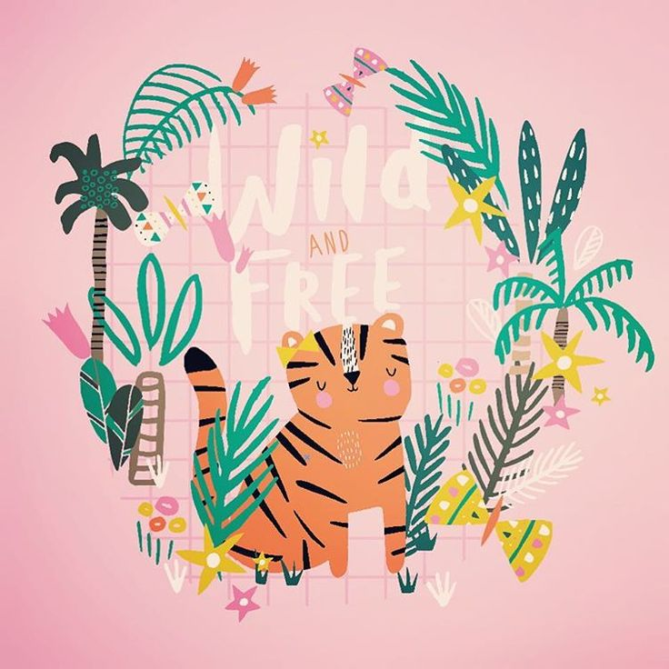 This little lady tiger is letting its fur down and getting back to nature!! #junglelyfe  #kidswear #ukillustrator #bettyjoy #placementprint #tiger #jungleprint #wildandfree