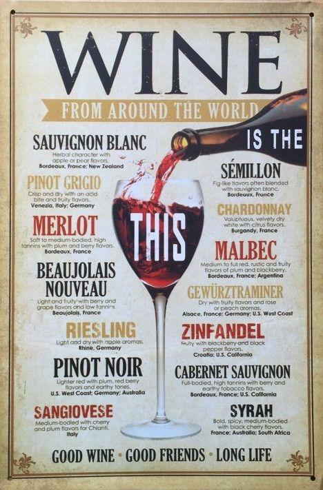 Vintage Wine Inspired Metal Signs