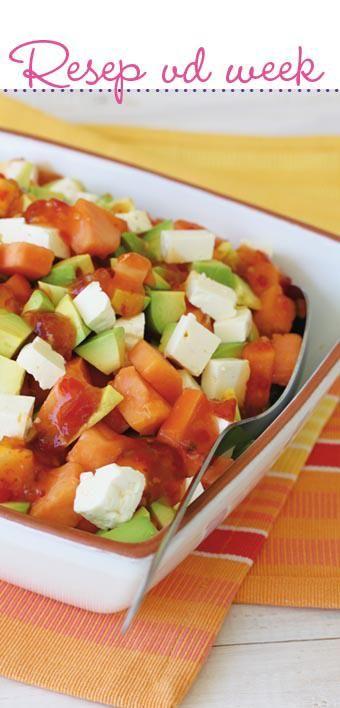 Papaya and avo salad with feta | Papaya en avo slaai met feta #recipe #vegetarian #salad