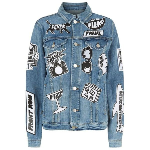 Frame Le Original Tour Patch Denim Jacket found on Polyvore featuring outerwear, jackets, patched denim jacket, polka dot jacket, patch jacket, jean jacket and blue jackets