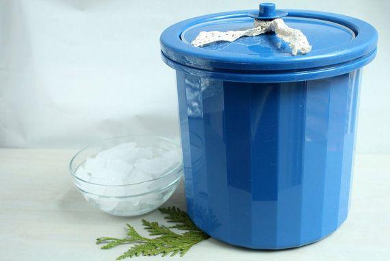 Tupperware Ice Bucket, Vintage Ice Server, Royal Blue