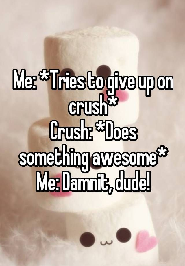 """""""Me: *Tries to give up on crush* Crush: *Does something awesome* Me: Damnit, dude!"""""""