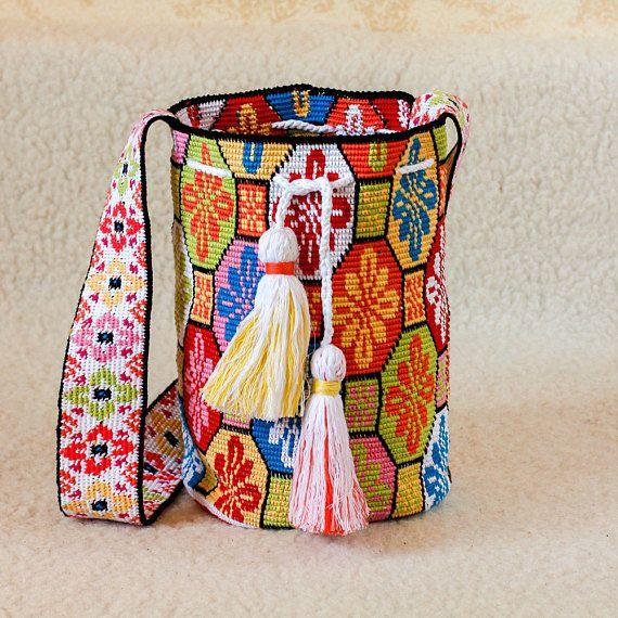 Crocheted Multi-Colored Mochila wayuu tecnique tapestry