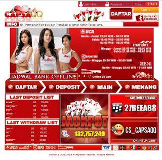 Temukan keseruan bermain poker online bersama capsaqq.com. Poker online yang mendukung pembayaran lewat Bank BCA, BNI, BRI, CIMB Niaga, Bank Danamon dan Bank Mandiri. capsaqq.com menghadirkan permainan Poker, Domino 99, Capsa Susun, AduQ (Poker, QQ, Ceme, BlackJack). Dapat bermainan langsung pada situs/ website ataupun download aplikasi untuk android, ipone dan ipad. http://duniaonlineoke.blogspot.sg/2015/07/capsaqqcom.html