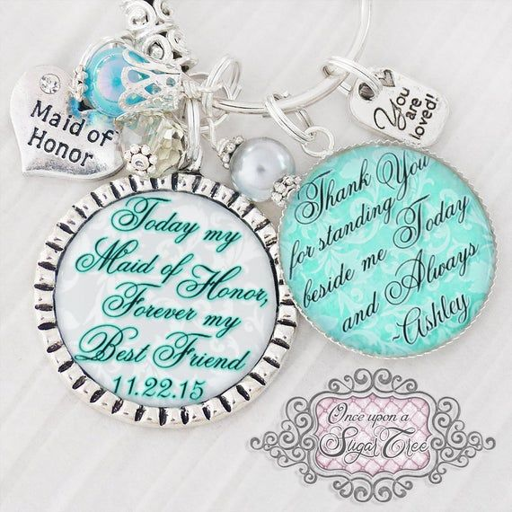 Bridesmaid Gift Maid of Honor Keychain Wedding Jewelry for Bridesmaid Bridal Party Gifts