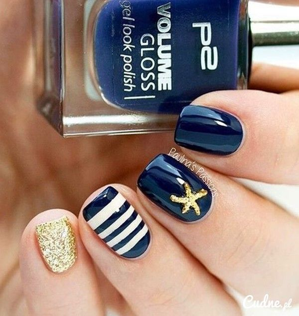 Blue, gold and white winter nail art combination. Design your nails in cute  white stripes and golden colored starfish plus a glitter full of pinky nails - 1563 Best Beach Nails Images On Pinterest Nail Scissors, Nail