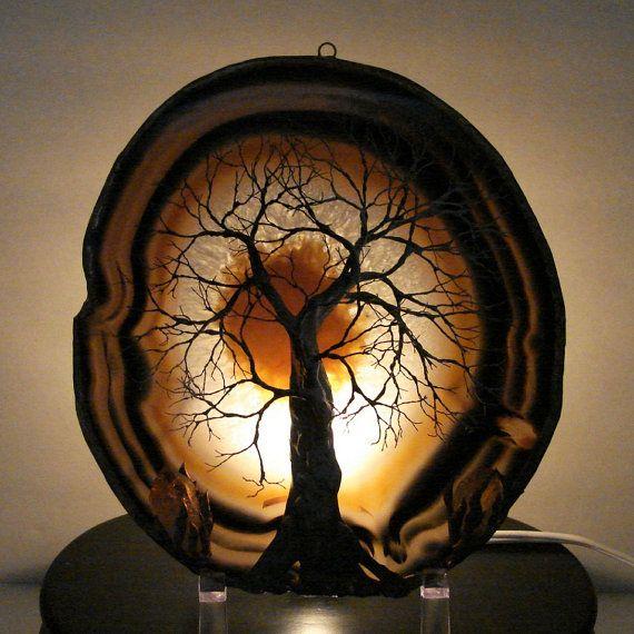 Wire Tree Of Life Ancient Spirit sculpture natural LARGE Geode Agate slice, Citrine Quartz Crystals with Light Base, original Art via Etsy