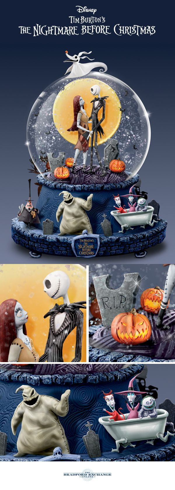 """When Jack and Sally confessed their love for each other, it was a movie moment we wanted to hold on to forever. Now you can with this Nightmare Before Christmas glitter globe, perfectly capturing the beloved characters' iconic scene, amidst glitter and black bat swirls, a rotating base and the movie's famous """"Overture"""" tune providing the soundtrack."""