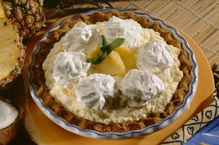 Made with crushed pineapple, this luscious cream pie recipe puts a tropical twist on any dessert buffet.